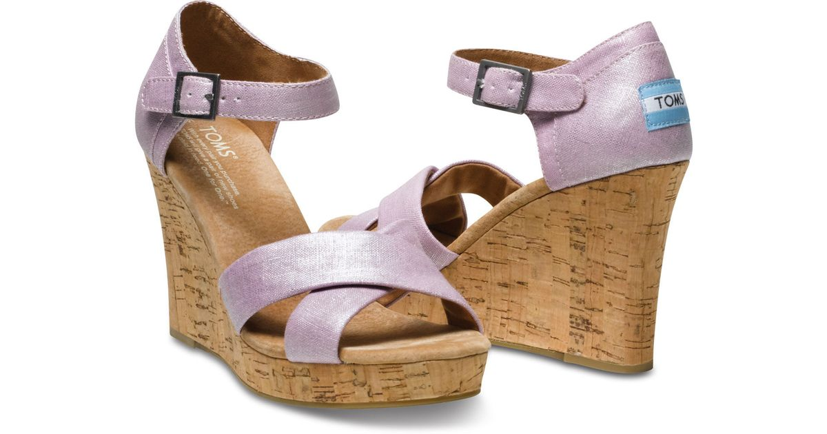 c7e9a2c5864 Lyst - TOMS Metallic Linen Women S Strappy Wedges in Purple