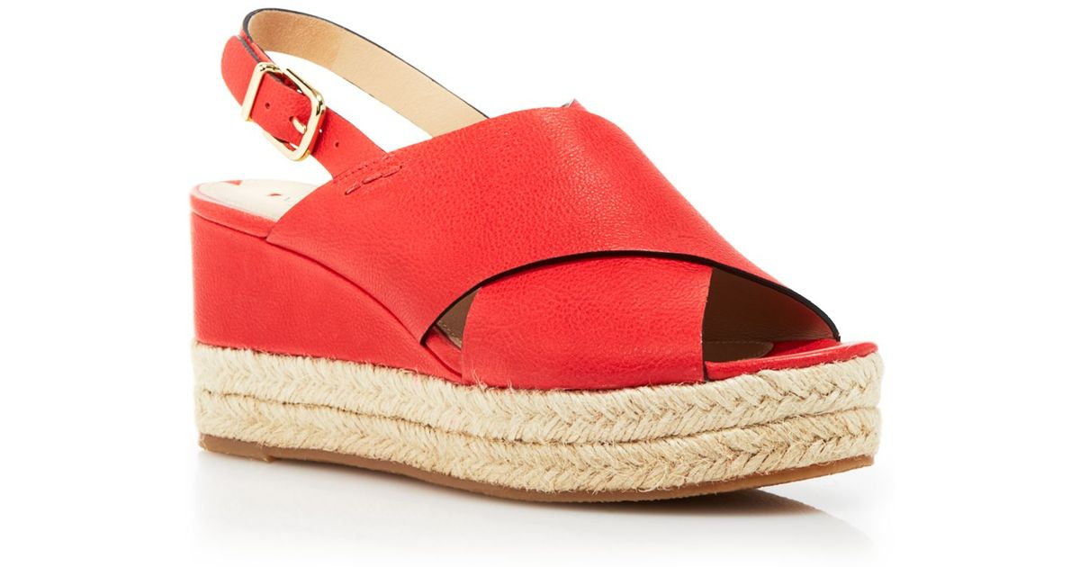 4aeaee79be0e Lyst - Via Spiga Platform Wedge Sandals - Bloomingdale S Exclusive Triana  in Red