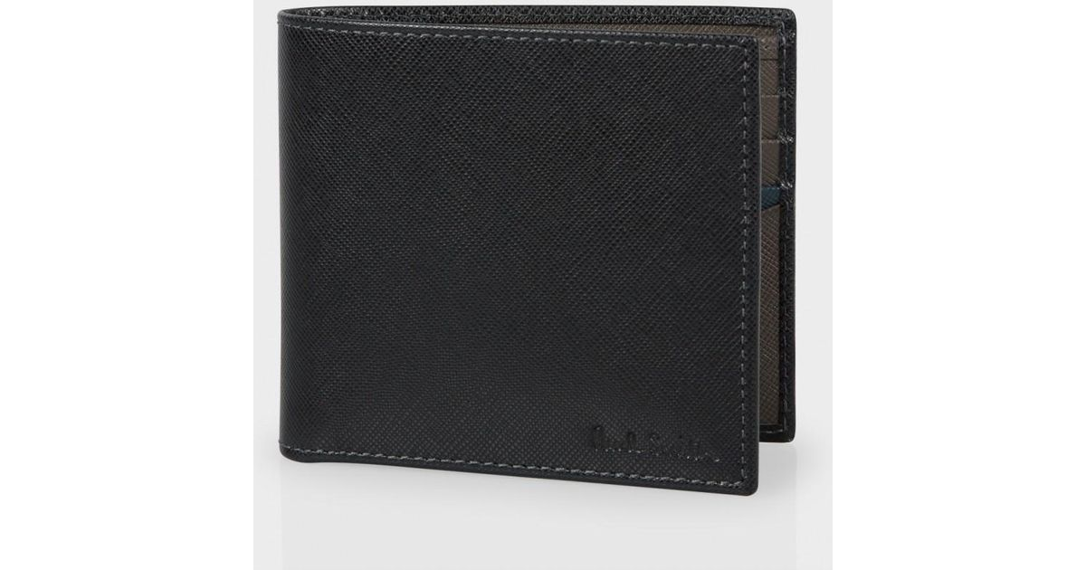 paul smith black and taupe saffiano leather billfold