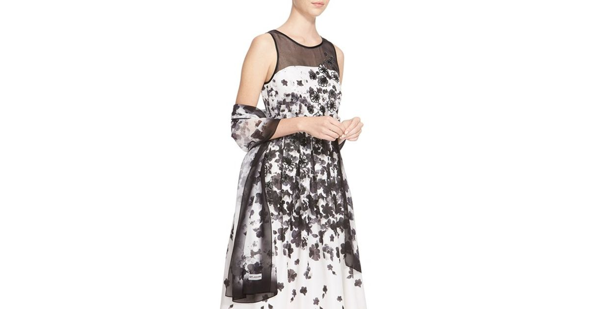 st floral print silk georgette scarf lyst