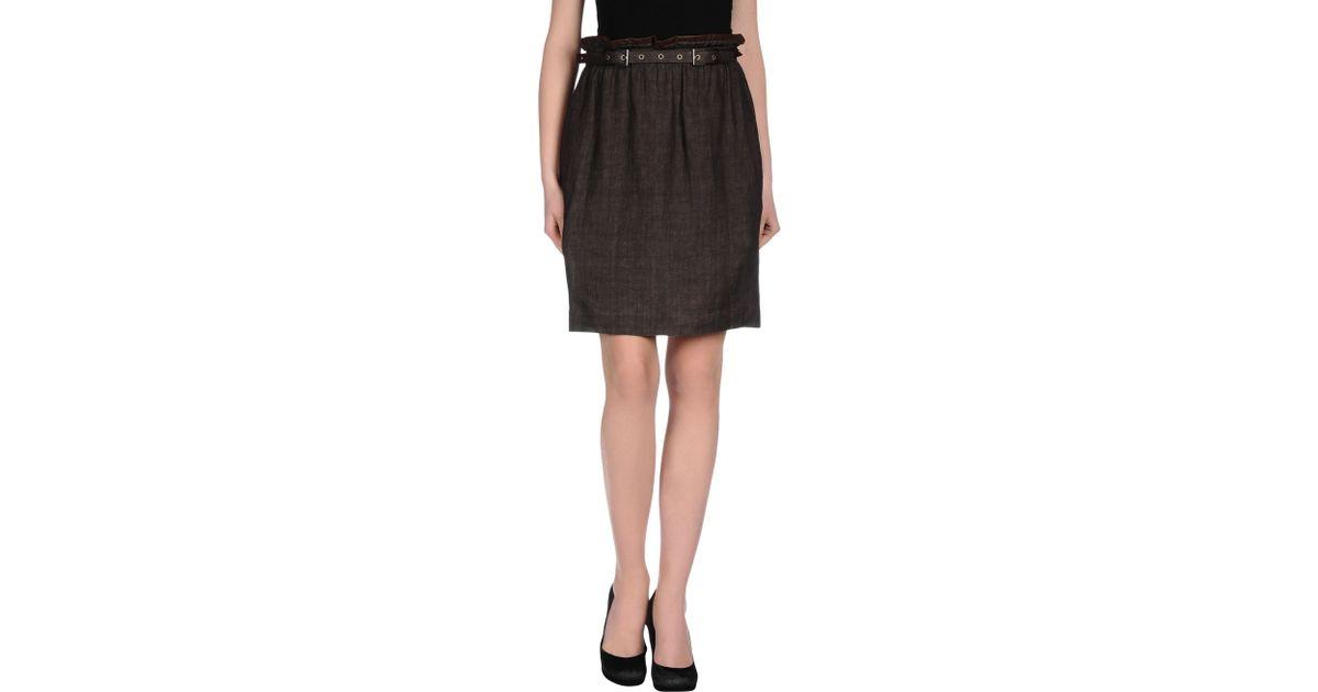 peserico knee length skirt in brown lyst