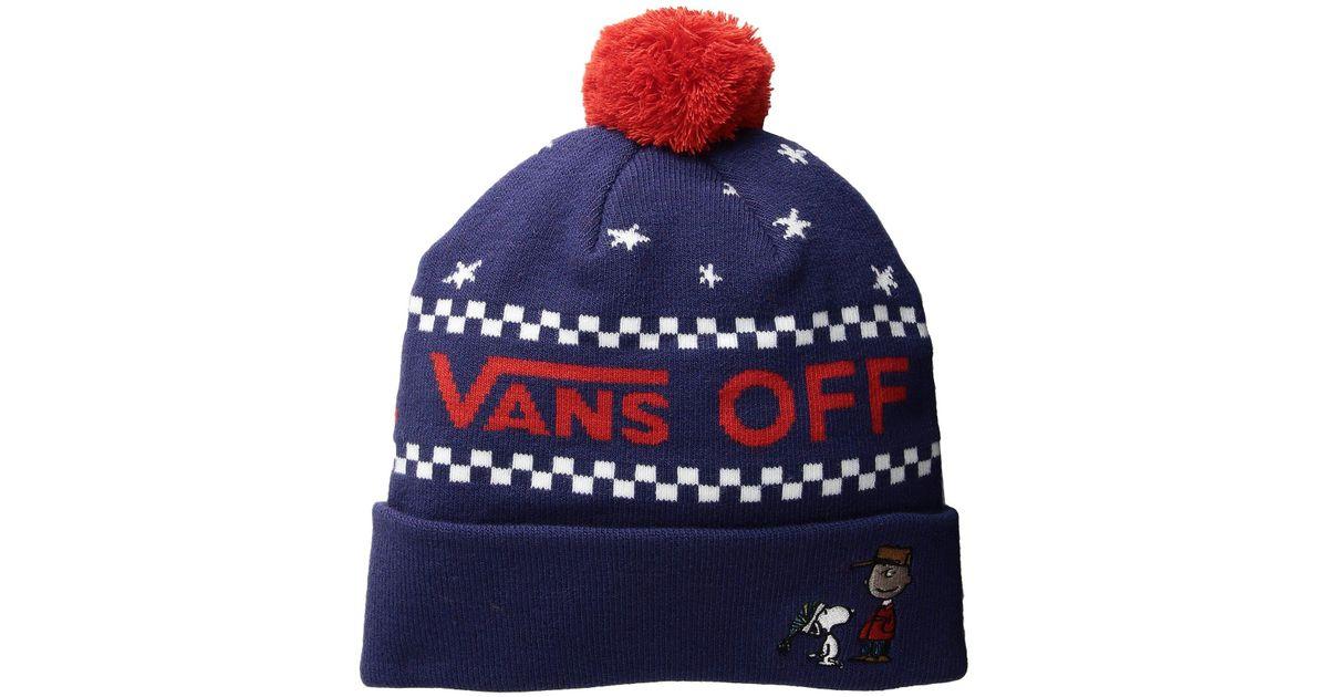 92bdcd3dc2d Lyst - Vans Pom Beanie X Peanuts Christmas in Blue for Men