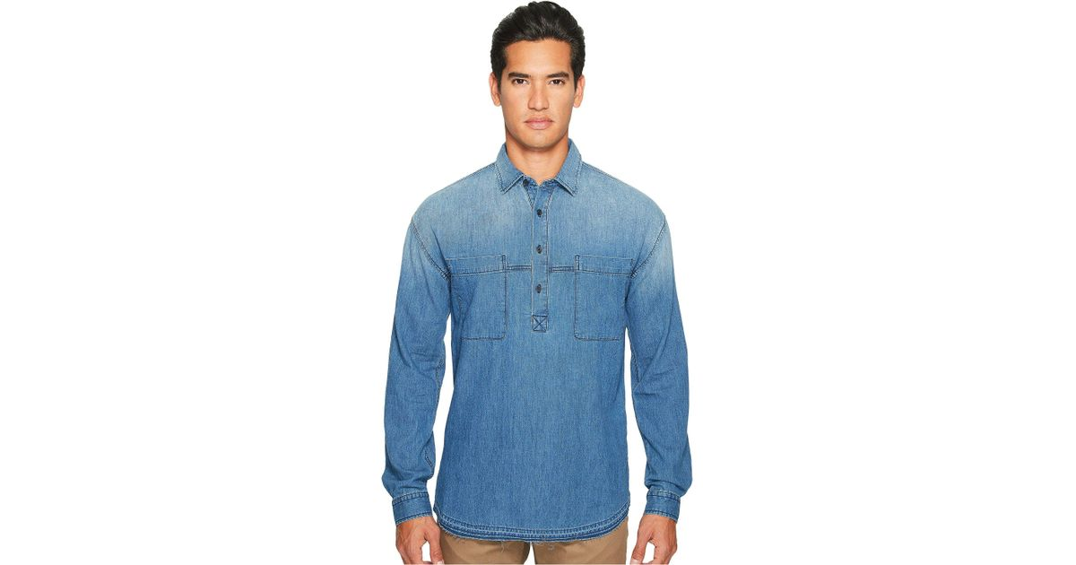 588d3ce35fc Lyst - Vince Denim 1 2 Placket Pullover Shirt in Blue for Men