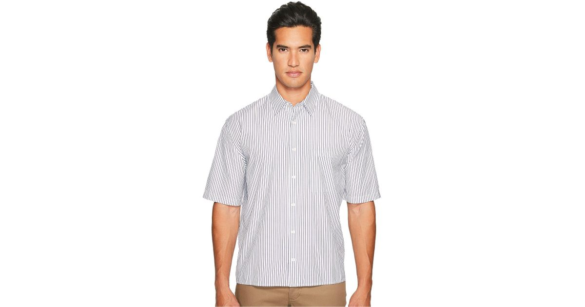 34a0fed2 Vince Deep Pleat Boxy Fit Short Sleeve Pinstripe Button Up in Blue for Men  - Lyst