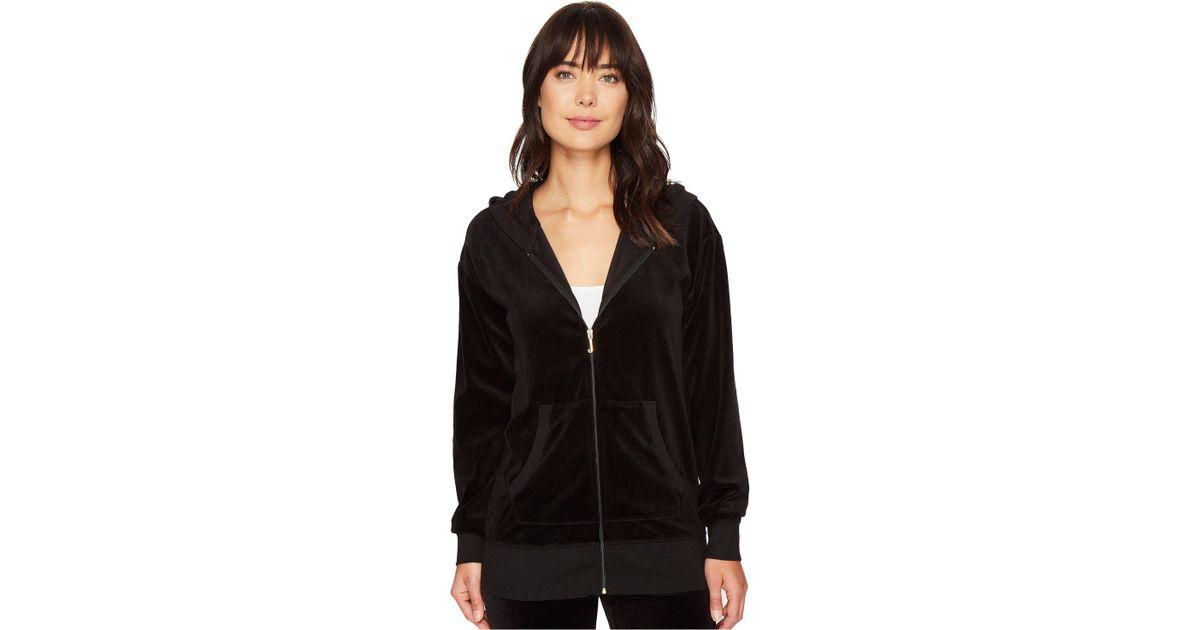 c4dee51f12ae Lyst - Juicy Couture Beachwood Velour Jacket in Black - Save 67%