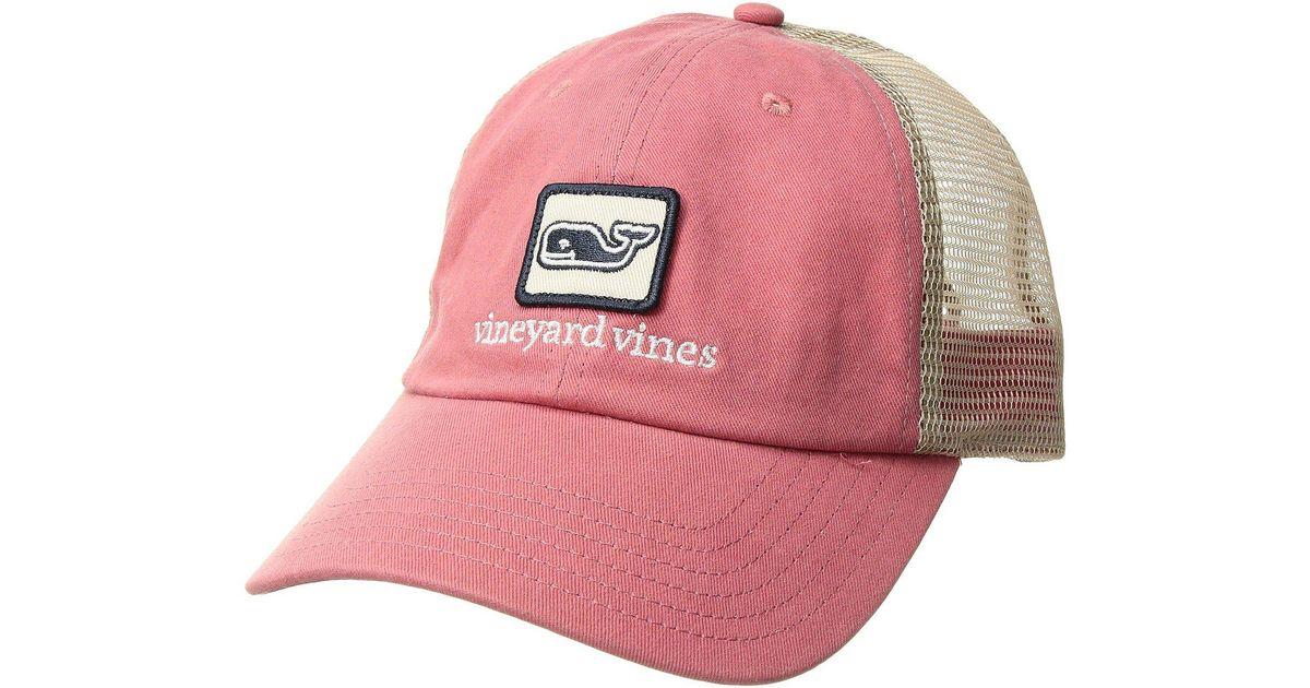 b1633a8a Lyst - Vineyard Vines Low Pro Decon Whale Trucker Hat in Red for Men