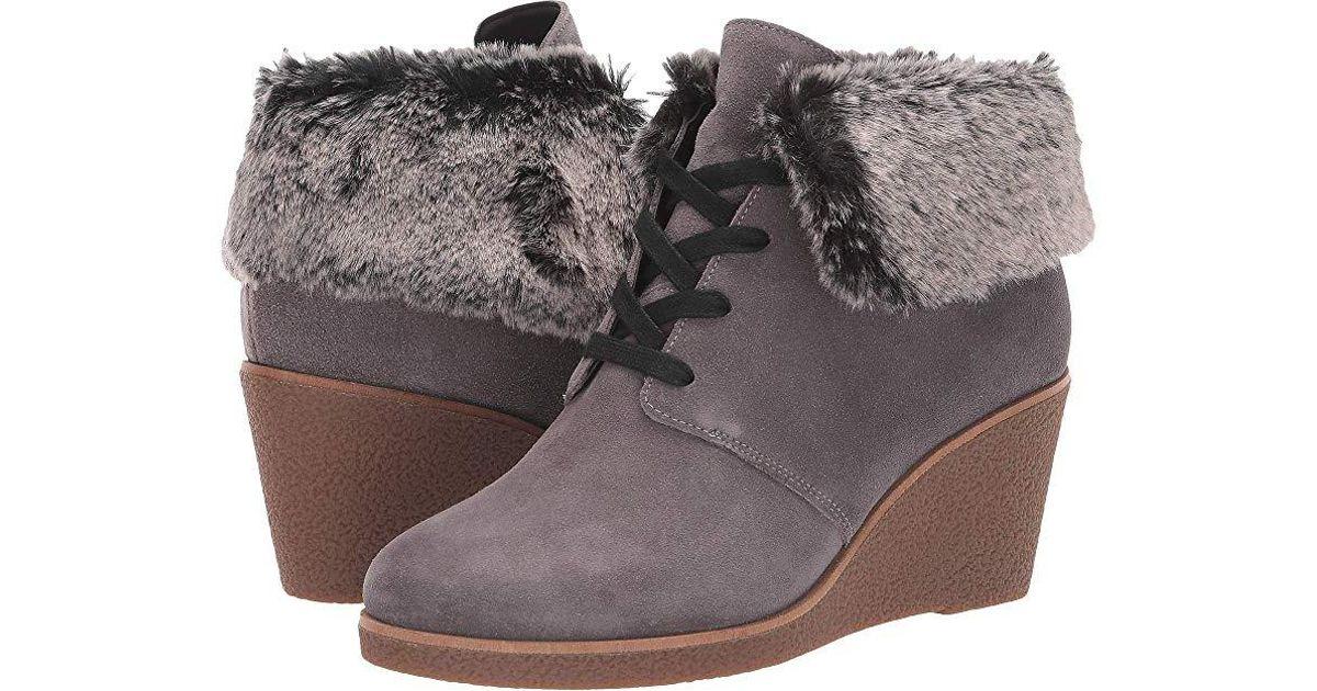 636b19ede69 Cole Haan - Gray Coralie Wedge Bootie (stormcloud Waterproof Suede) Boots -  Lyst