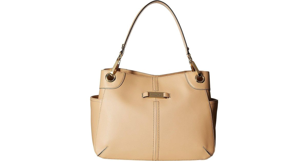 56352249542c6 Lyst - Calvin Klein Key Item Pebble Leather Satchel in Natural