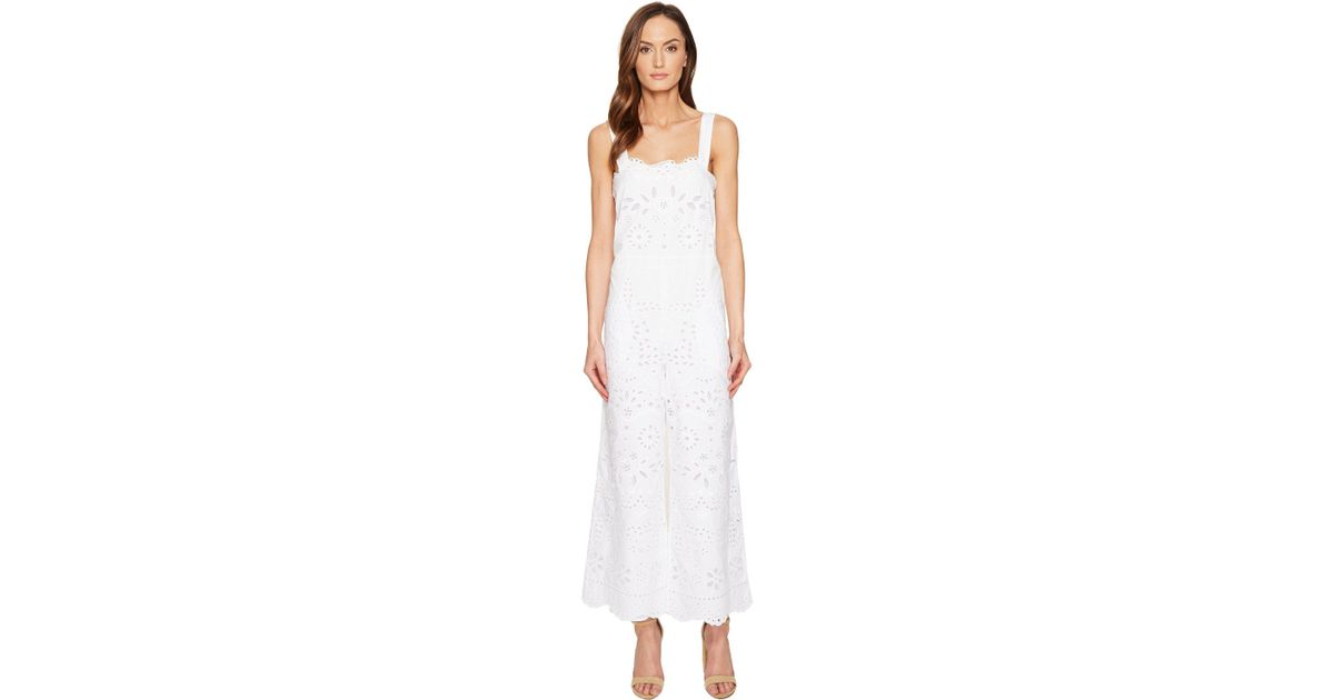 5ba500084bf2 Lyst - RED Valentino Cotton Muslin And Sangallo Embroidery Jumpsuit in White