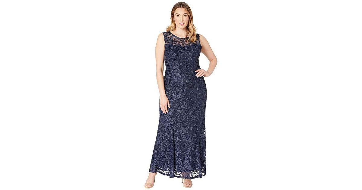 Marina Purple Plus Size Sleeveless Lace Gown Eggplant Dress Lyst