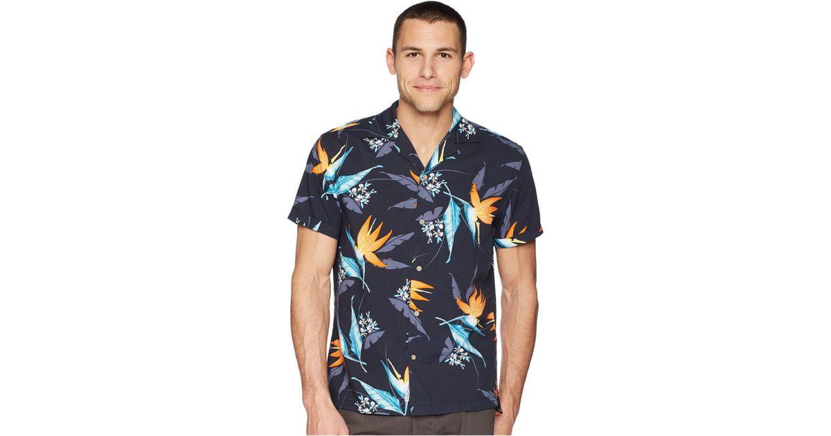 ee64618a Original Penguin Tropical Floral Print Short Sleeve Shirt in Blue for Men -  Lyst