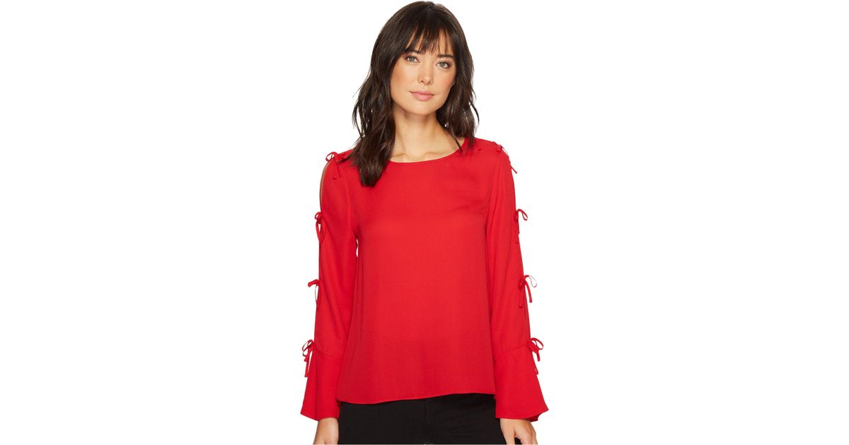 952c380bdf46ec Lyst - Cece Long Sleeve Lightweight Crepe Blouse W/ Bow Detail in Red