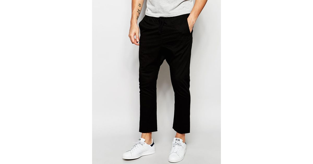 Awesome Asos Drop Crotch Joggers In Twill In Black For Men - Save 50% | Lyst
