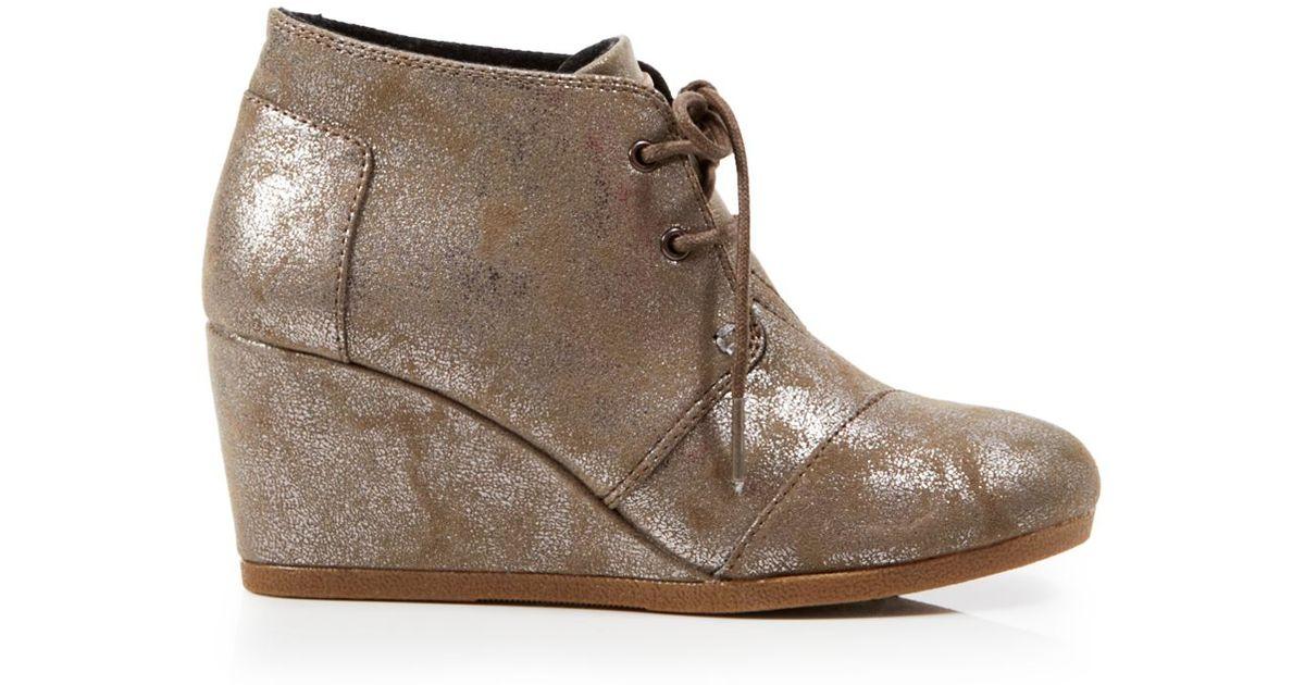 Toms Metallic Lace Up Desert Booties - Wedge Heel | Lyst