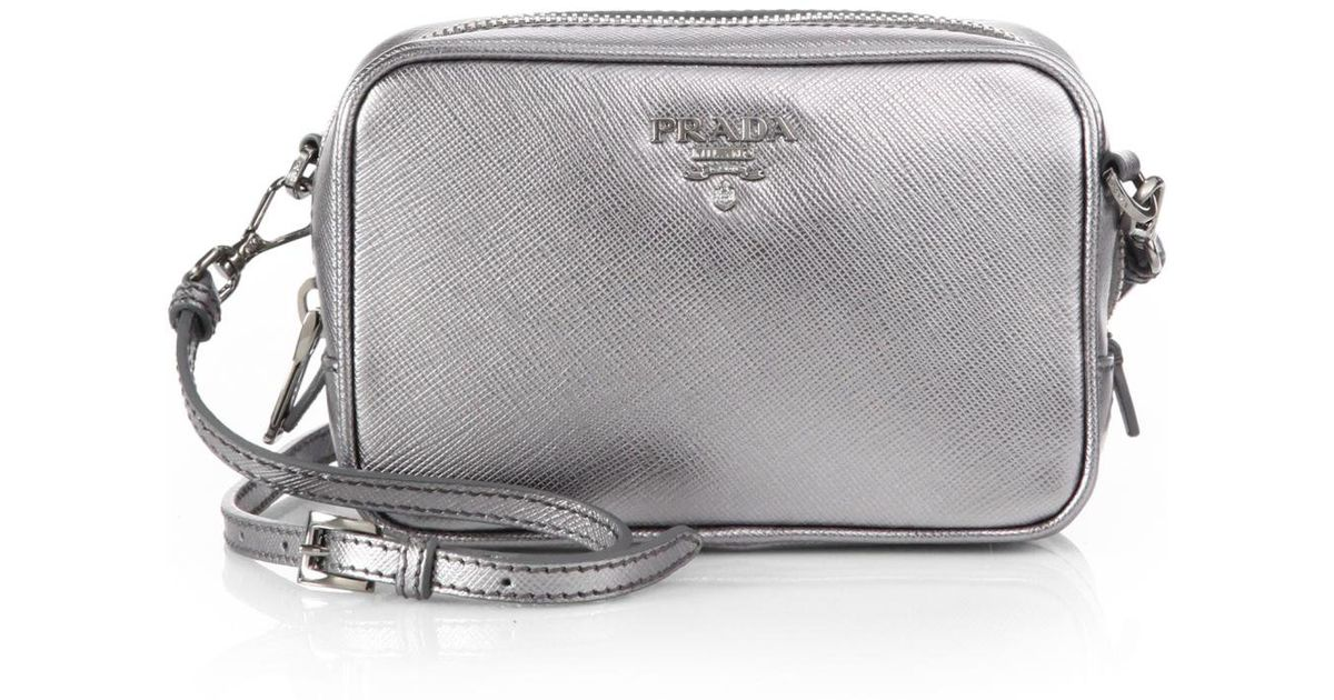 93be464c4d62 ... new zealand lyst prada saffiano leather camera bag in metallic 49578  5507f