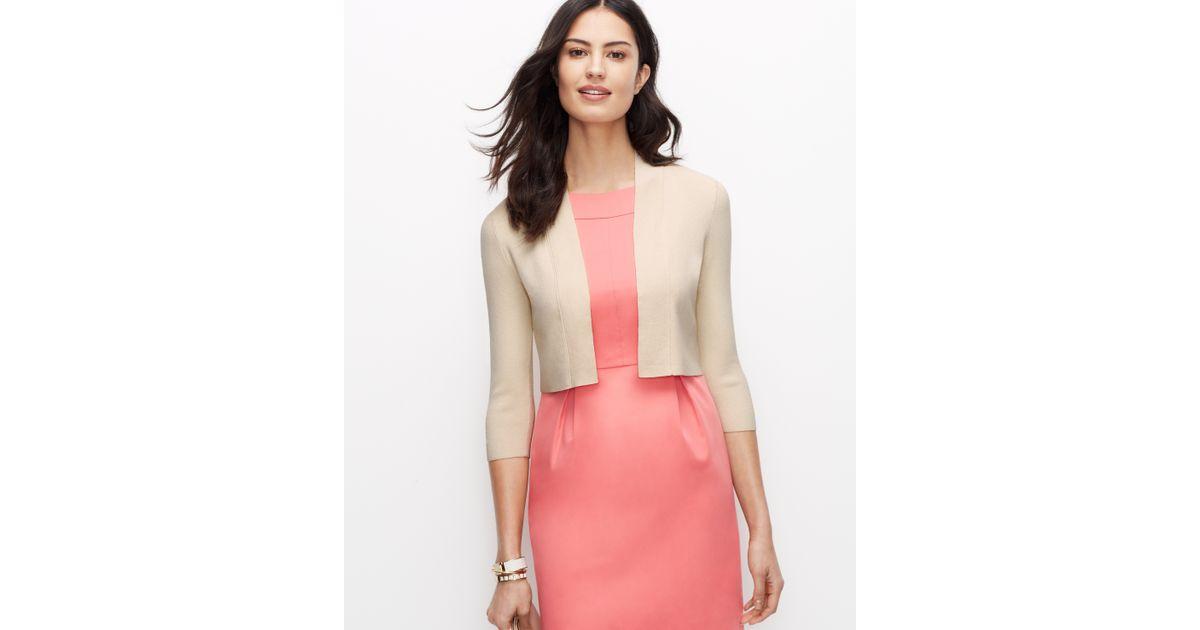 Lyst Ann Taylor 34 Sleeve Dress Shrug In Natural