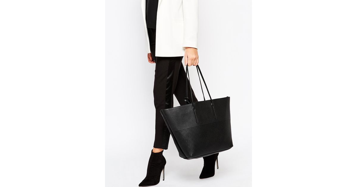 DESIGN croc bonded shopper bag - Black Asos 95qKg