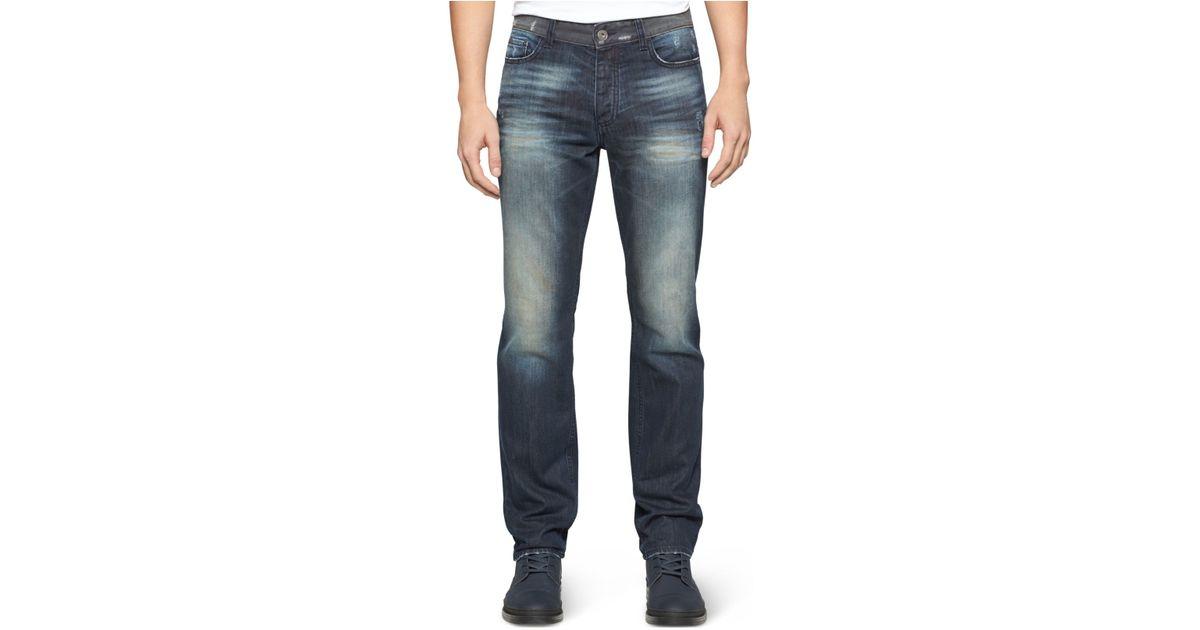 calvin klein jeans slim straight fit jeans in blue for men. Black Bedroom Furniture Sets. Home Design Ideas