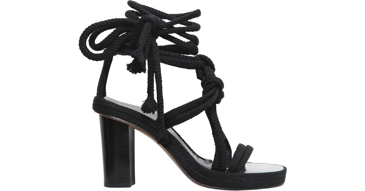 82f0a9e915da Lyst - Isabel Marant 85mm Miana Cotton Rope Wrap Sandals in Black
