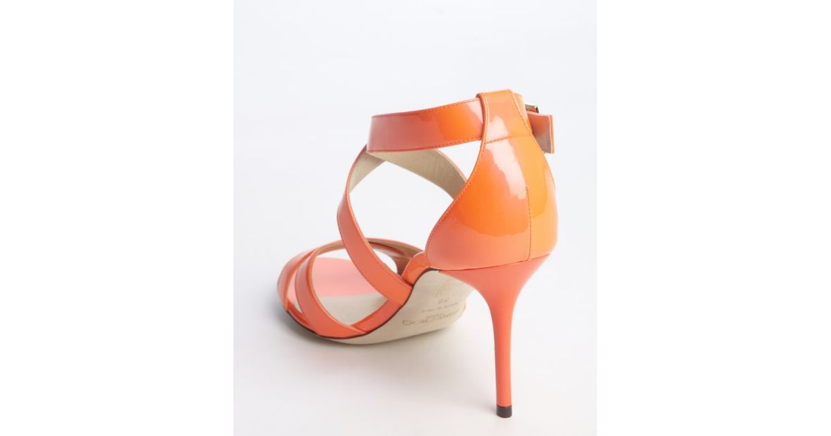 79c993fe8f6 Lyst - Jimmy Choo Neon Flame Patent Leather  louise  Strappy Sandals in Red