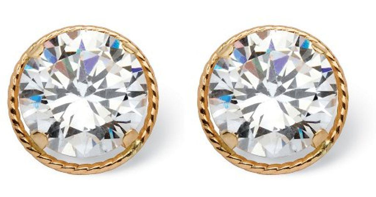 Palmbeach Jewelry 4 Tcw Round Martini Set Cubic Zirconia Stud Earrings In 14k Gold Metallic Lyst