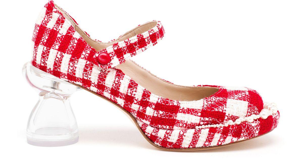 Lyst - Simone Rocha Tweed Pumps With Perspex Heels in Red