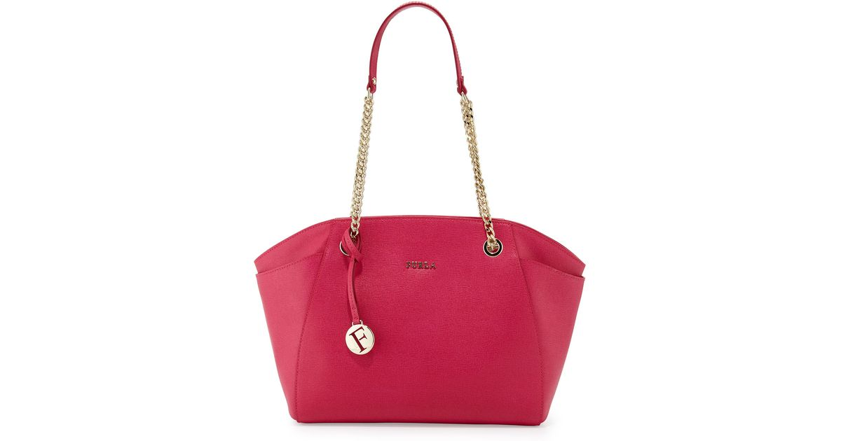Furla Julia Medium Leather Tote Bag in Pink | Lyst