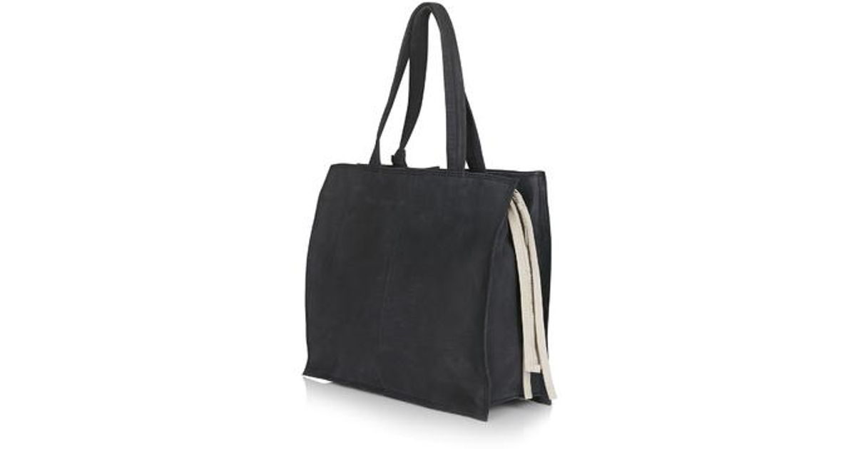 21102730c43 Topshop Zippy Leather Tote Bag in Black   Lyst