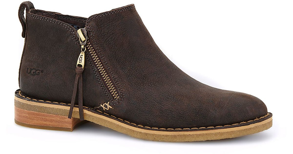 Ugg Clementine Sheepskin Leather Ankle Boots In Brown Lyst