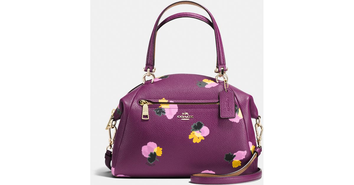 34b08d2adce5 Lyst - COACH Prairie Satchel In Floral Print Leather in Purple