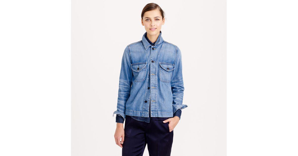 J.crew Collection Denim Shirt-Jacket in Blue | Lyst
