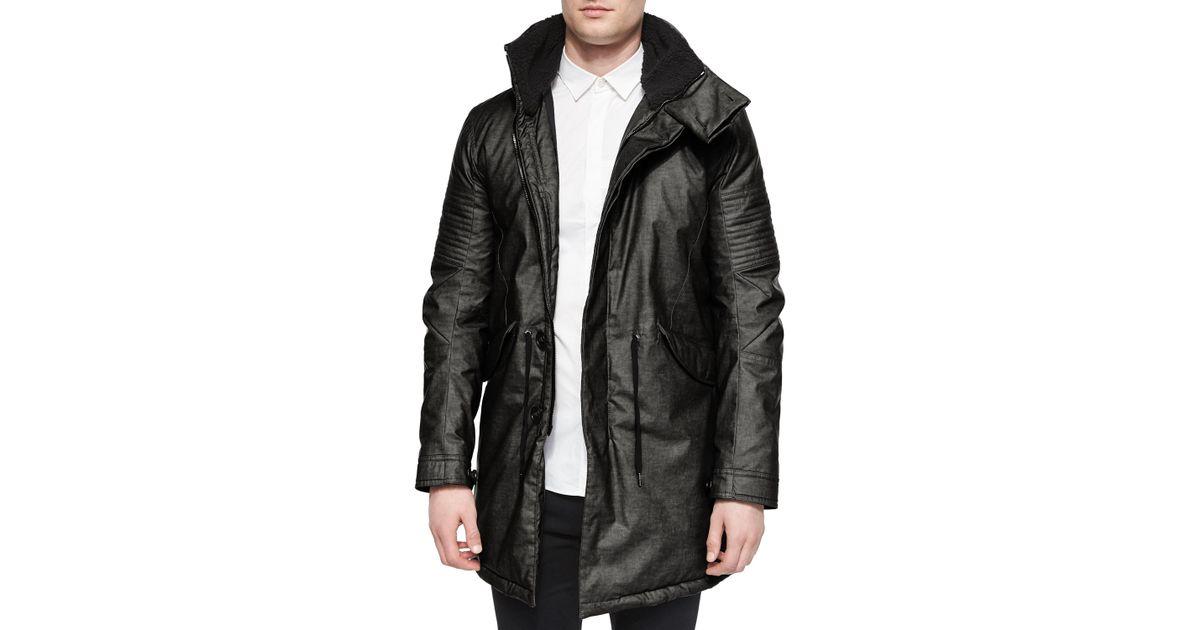 Helmut lang Film-finish Long Parka Jacket in Black for Men | Lyst