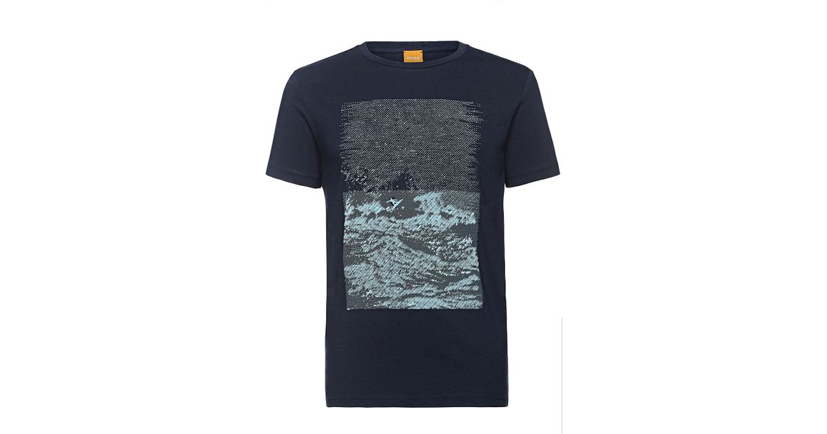 9d3470697 BOSS Orange T-shirt With Printed Front Motif: 'tartary' in Blue for Men -  Lyst