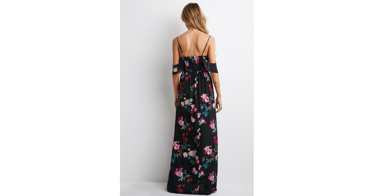 41a30ee7d085 Forever 21 Mixed Floral Ruffle-sleeve Maxi Dress in Black - Lyst