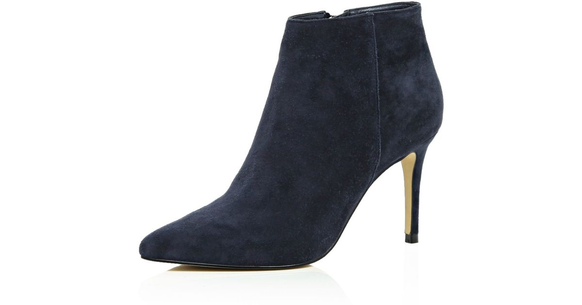 81c3e65b006ac River Island Navy Suede Pointed Ankle Boots in Blue - Lyst