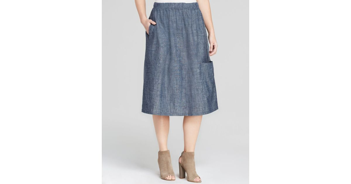 eileen fisher denim oval skirt in blue lyst