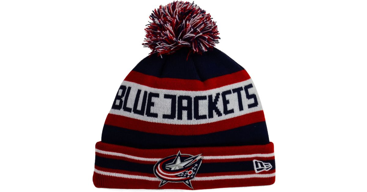 2b4195417 KTZ - Red Columbus Blue Jackets Jake Pom Knit Hat for Men - Lyst
