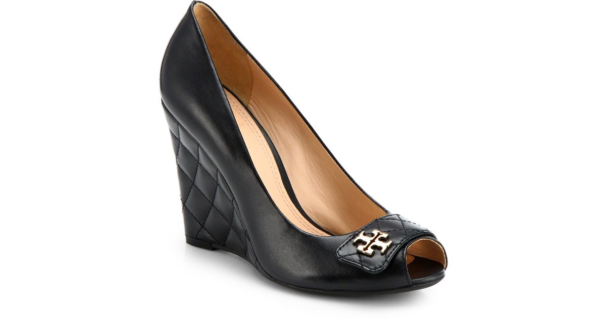 2846b9dbc62 Lyst - Tory Burch Leila Leather Peeptoe Wedge Pumps in Black