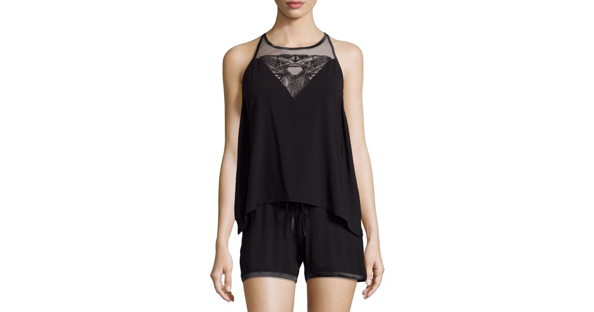 Lyst - La Perla Serenade Short Two-piece Pajama Set in Black 4375b43ec