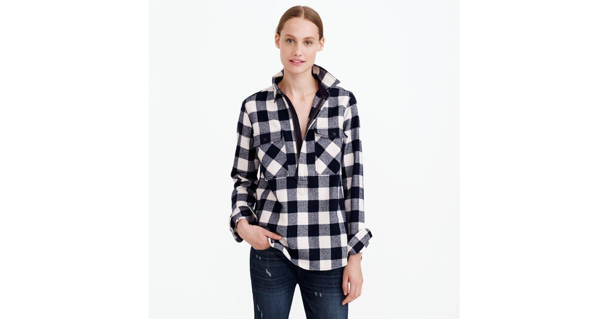Buffalo check shirt jacket in blue lyst for Buffalo check flannel shirt jacket