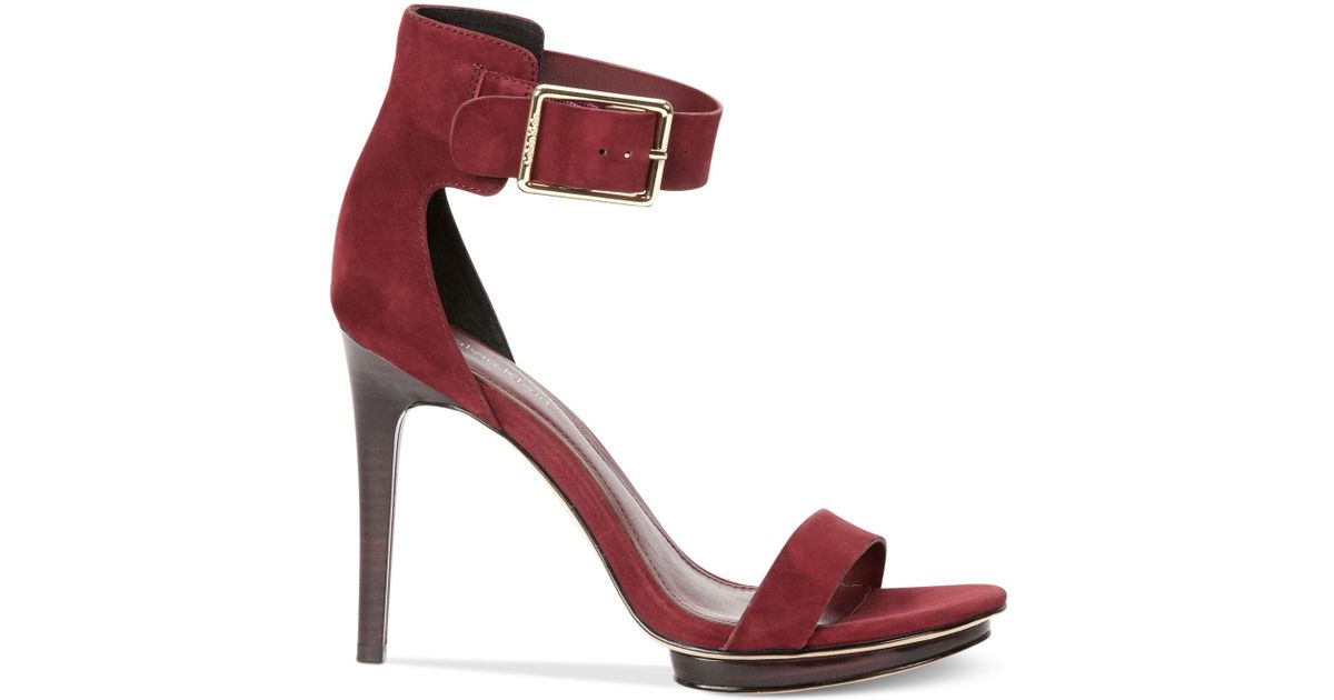 f9d44fd8f152 Lyst - Calvin Klein Women S Vivian High Heel Sandals in Red