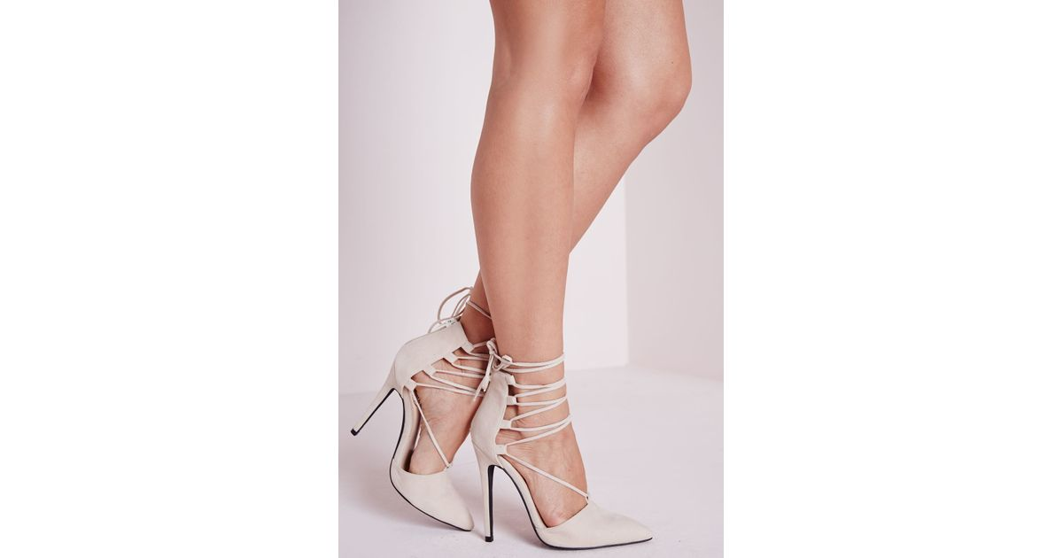 933c9bb3d8c9 Lyst - Missguided Lace Up Pointed Toe Heels Nude in Natural