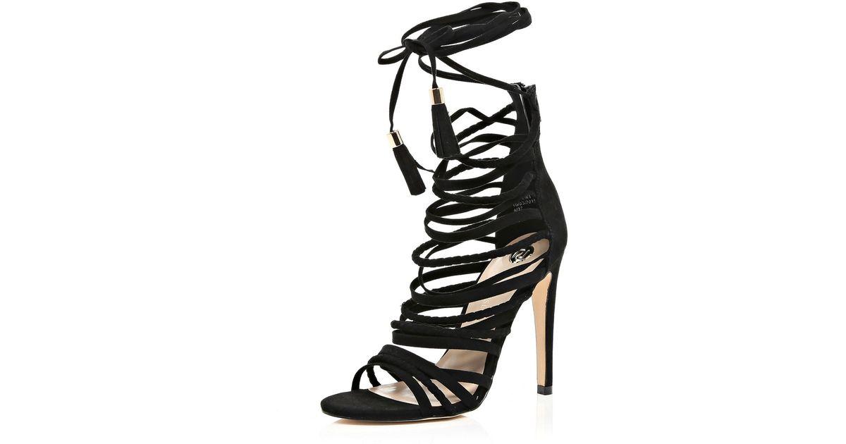 3af8babc88 River Island Black Strappy Tassel Heeled Sandals in Black - Lyst