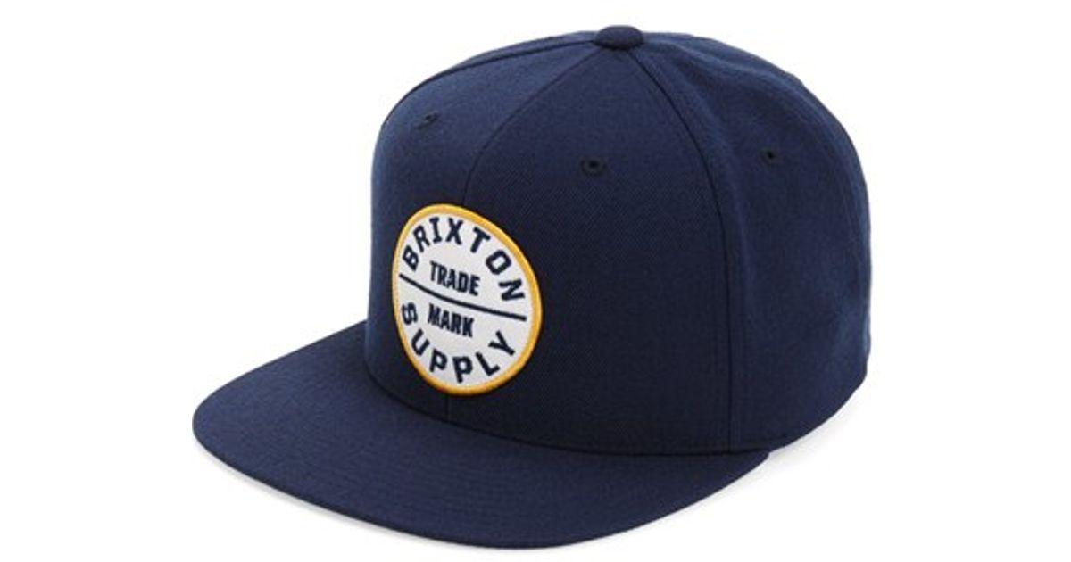 9c821e12e77 Lyst - Brixton  oath Iii  Snapback Cap in Blue for Men