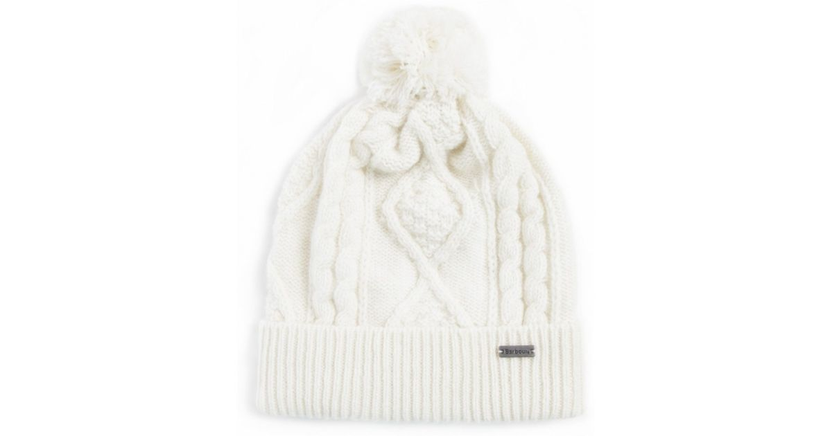 fdbf2a001c7 Lyst - Barbour Wool Pom Pom Hat in White