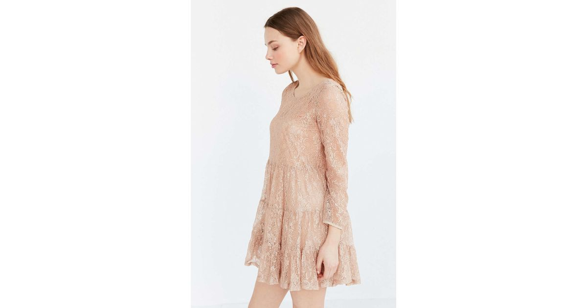Kimchi blue Nude Lace Tiered Dress in Pink | Lyst