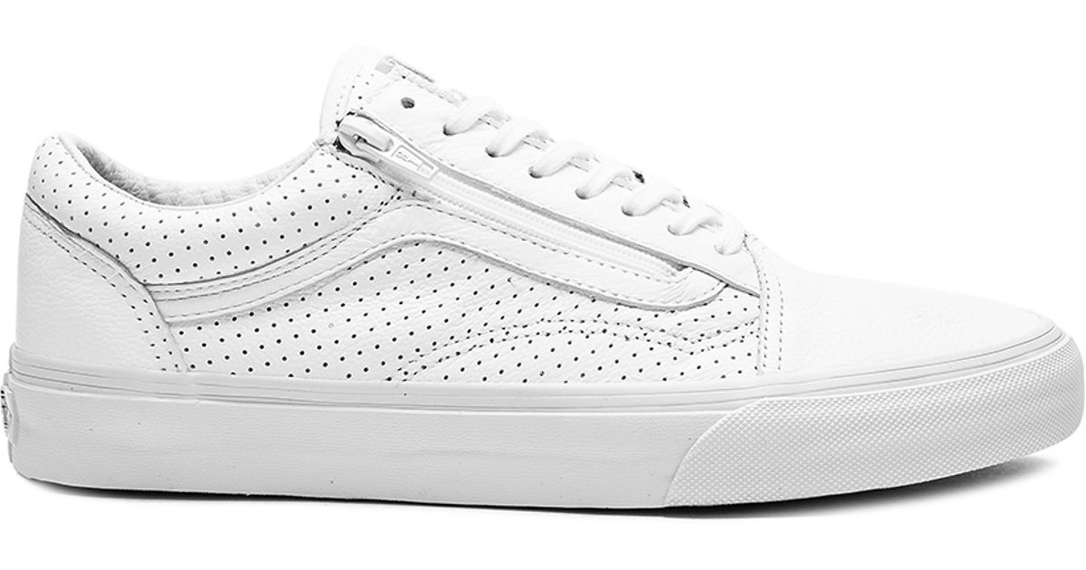 b8e8319b0a2 Lyst - Vans Old Skool Zip Perf Leather in White for Men