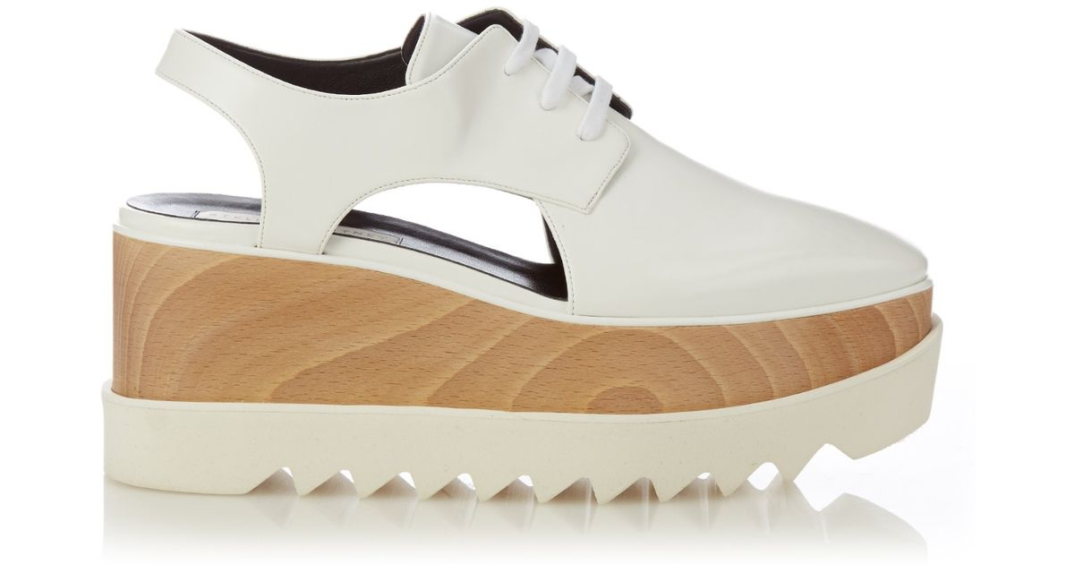 766d2fa91e99 Lyst - Stella McCartney Elyse Lace-Up Platform Loafers in White