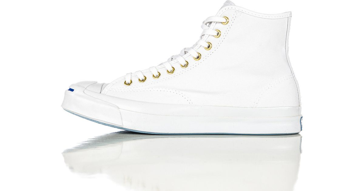 9c7ef8c11e743b Lyst - Converse Jack Purcell Signature Duck Canvas Hi In White in Brown for  Men