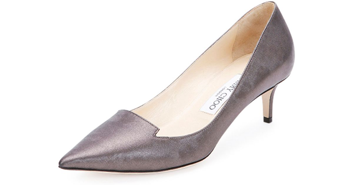 b6785b5a7d2 Lyst - Jimmy Choo Allure Kitten-Heel Pump in Metallic